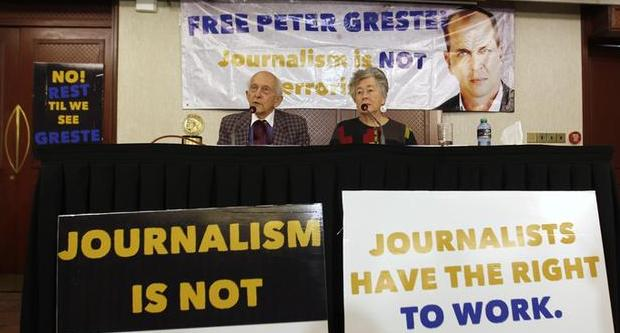 Parents of jailed Australian journalist Peter Greste of Al Jazeera address a news conference to discuss their continuing efforts to attain his freedom in Kenya's capital Nairobi