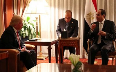 Republican presidential nominee Donald Trump holds a bilateral meeting with Egyptian President Abdel Fattah el-Sisi in Manhattan, New York, U.S., September 19, 2016.  REUTERS/Carlo Allegri
